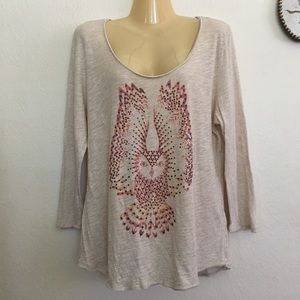 Lucky Brand Owl Stud Graphic Top